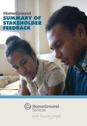 Stakeholder Feedback 2008 - Executive Summary - HomeGround ...
