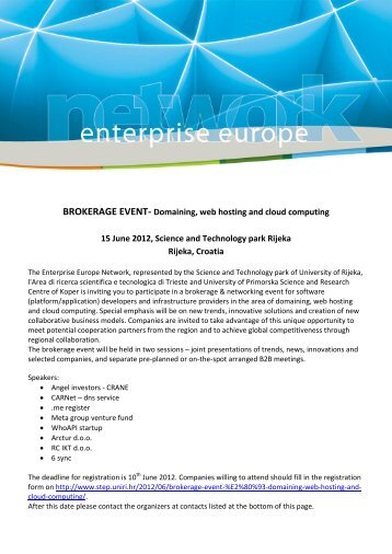 BROKERAGE EVENT- Domaining, web hosting and cloud ...