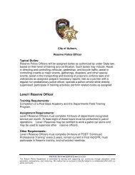 Level I Reserve Police Officer - City of Auburn