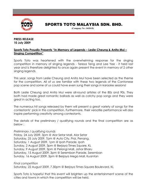 SPORTS TOTO MALAYSIA SDN  BHD