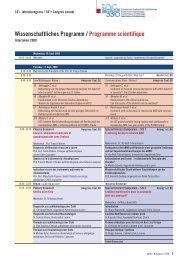 Wissenschaftliches Programm / Programme scientifique