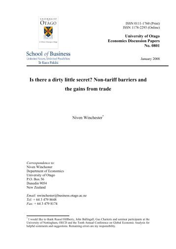 Is there a dirty little secret? Non-tariff barriers and the gains from trade