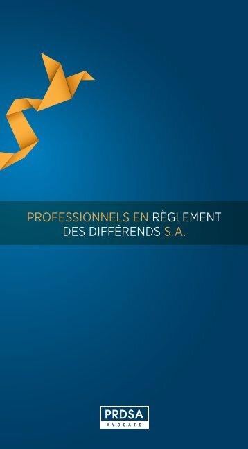 PROFESSIONNELS EN RÈGLEMENT DES DIFFÉRENDS S.A. - prdsa