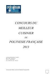 concours du meilleur cuisinier polynesie française 2013