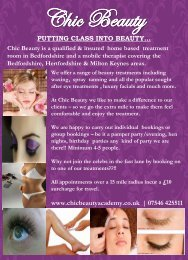 Chic Beauty Academy - Price List - Hairdressers And Salons