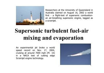 Supersonic turbulent fuel-air mixing and evaporation - oxytane