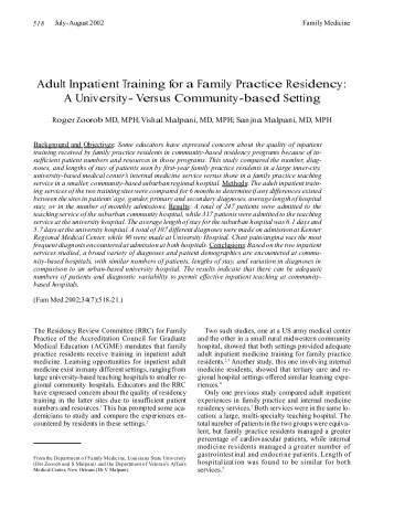 Adult Inpatient Training for a Family Practice Residency: A ... - STFM
