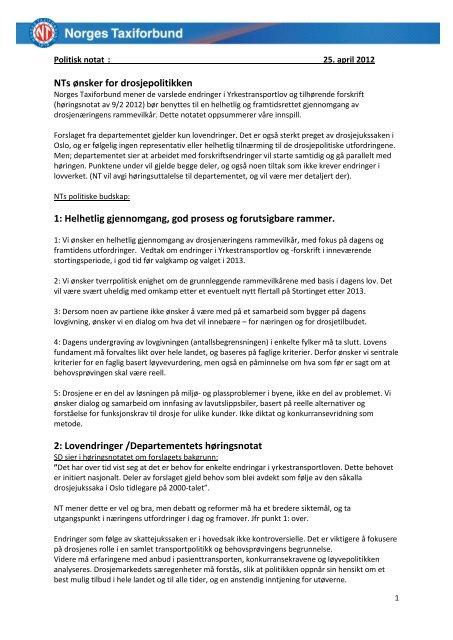 Politisk notat - Norges Taxiforbund
