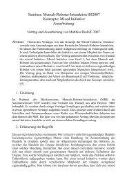 Seminar: Mensch-Roboter-Interaktion SS2007 Konzepte: Mixed ...