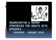 Organisation and Memory Strategies for Adults - Dyslexia ...