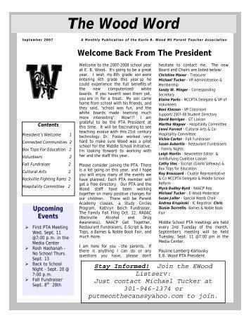 September 2007 (PDF) - Earle B. Wood Middle School PTA