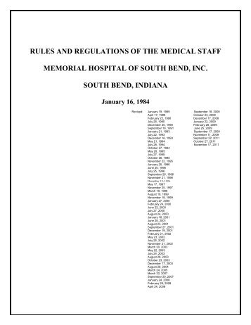 RULES AND REGULATIONS OF THE MEDICAL STAFF MEMORIAL ...