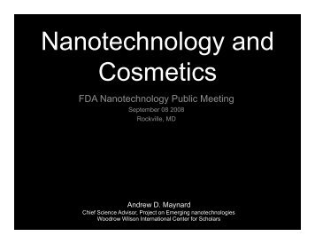 Nanotechnology and Cosmetics - Project on Emerging ...