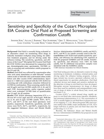 Sensitivity and Specificity of the Cozart ... - Clinical Chemistry