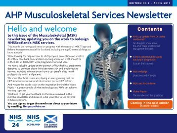 AHP Musculoskeletal Services Newsletter - 18 Weeks