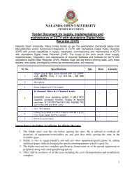 Tender Document For - Nalanda Open University