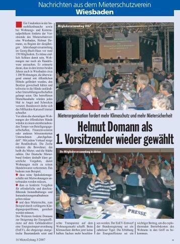 Helmut Domann als 1. Vorsitzender wieder gewählt - Mieterbund ...