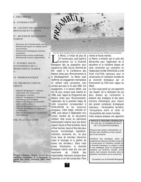 CBD Strategy and Action Plan - Morocco (Part 5, French version)