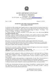 bando di gara viaggi d'istruzione 2012-2013 - Liceo Artistico Bruno ...