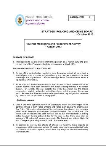 05 SPCB 01 13 Revenue Monitoring and Procurement Activity