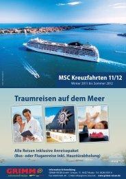Traumreisen auf dem Meer MSC Kreuzfahrten 11/12 - Grimm Reisen