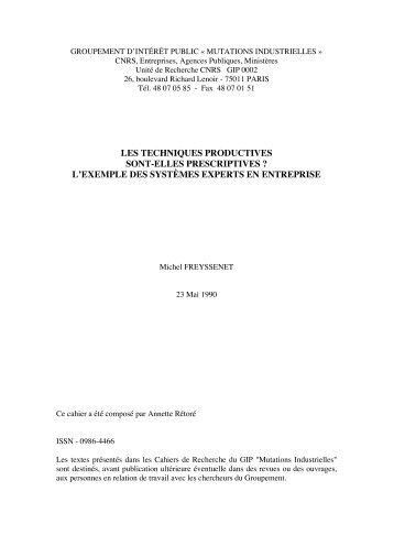 Les techniques productives sont elles ... - Michel Freyssenet