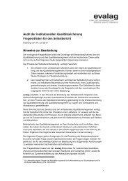Audit der institutionellen Qualitätssicherung Frageleitfaden für den ...