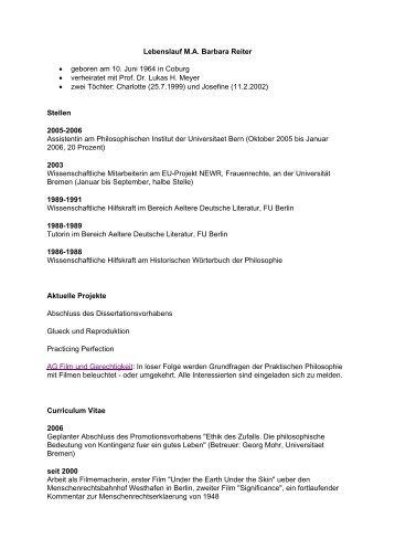 Lebenslauf M - Abteilung Philosophie der Universität Bremen