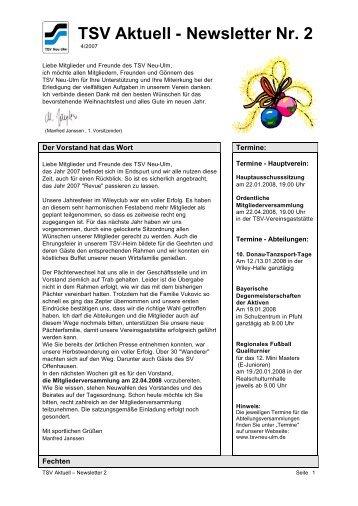 TSV Aktuell - Newsletter Nr. 2 - TSV 1880 Neu-Ulm