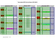 Terminplan KFK für die Saison 2011/2012 - Kieler Floorball Klub