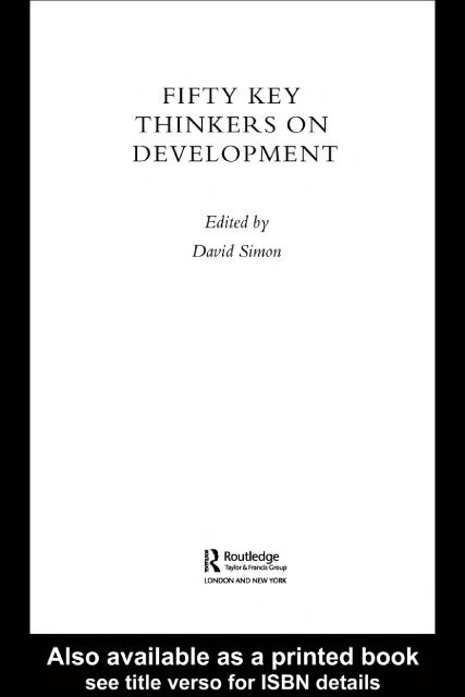 Fifty Key Thinkers On Development David Simon Pdf Steerweb Org