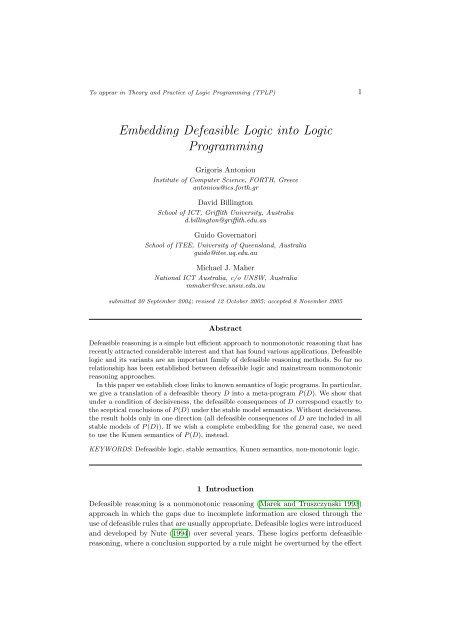 Embedding Defeasible Logic into Logic Programming