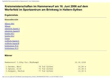 Kreismeisterschaften im Hammerwurf am 16. Juni 2006 auf dem ...