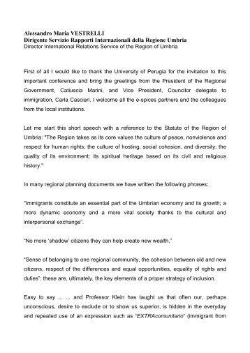 Ringrazio innanzi tutto l'Università di Perugia per l'invito ... - e-SPICES