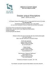 Dossier unique d'inscriptions - La Seyne-sur-Mer