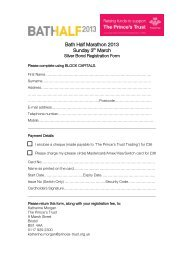 Bath Half Marathon 2013 Sunday 3th March - The Prince's Trust