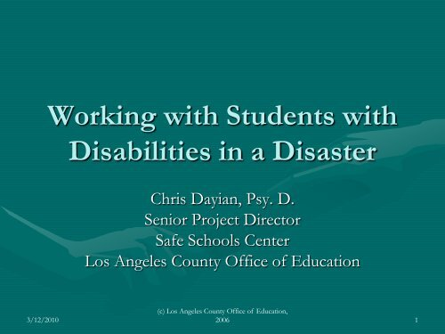 """""""Working with Students with Disabilities in a Disaster"""", Chris Dayian ..."""