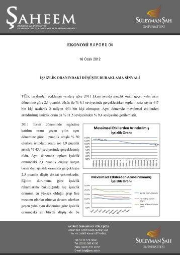 EKONOMİ RAPORU 04 - Süleyman Şah Üniversitesi