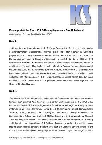 Firmenporträt der Firma K & S Raumpflegservice GmbH Rödental