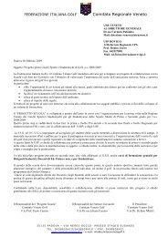 Progetto pilota GSS Golf 2009 - Ufficio Scolastico Provinciale di ...