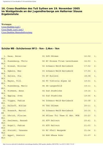 Ergebnisliste 16. Cross-Duathlon 19. Novemb Haltern-Sythen