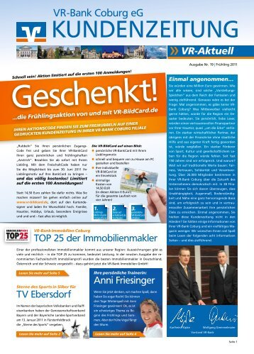 kundenzeitung nr 11 sommer 2008 vr bank coburg eg. Black Bedroom Furniture Sets. Home Design Ideas