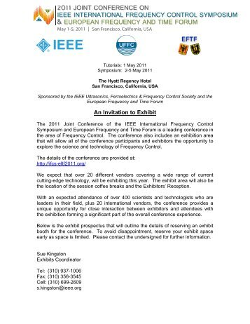 An Invitation to Exhibit - 2011 Joint Conference of the IEEE ...