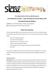 An introduction to RDA: ½ day workshop for School Library staff ...