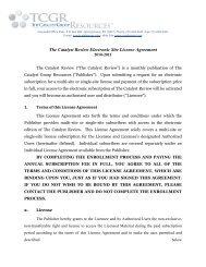 The Catalyst Review Electronic Site License Agreement