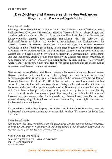 Das Züchter- und Rasseverzeichnis des Verbandes Bayerischer ...