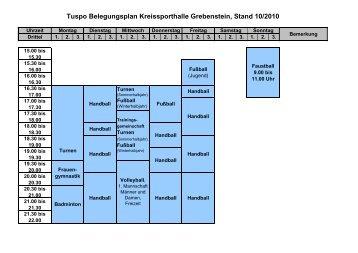 Tuspo Belegungsplan Kreissporthalle Grebenstein, Stand 10/2010
