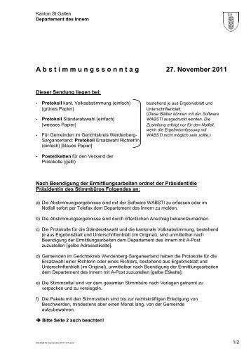 A b s t i m m u n g s s o n n t a g 27. November 2011 - Politische ...
