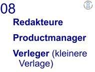 Redakteure Prod ctmanager Productmanager Verleger (kleinere ...