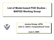 List of Model-based POD Studies - MAPOD Working Group List of ...